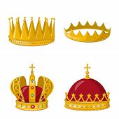 Isolated Object Of Monarchy And Gold Sign. Collection Of Monarchy And Heraldic Vector Icon For Stock poster