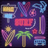 Surf Icons In Neon Style. Glowing Signs For Surfing Club, Shop Or Surf Point. Fluorescent Surfboards poster