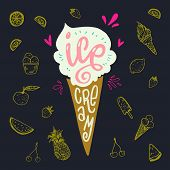 Icecream Cornet Flat Style Image With Lettering Text Ice Cream On Dark Background With Yellow Fruit  poster