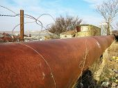 Pipeline. Large Iron Drainage Pipes Connect Two Reservoirs. Large Diameter Metal Pipe For Agricultur poster