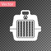 White Pet Carry Case Icon Isolated On Transparent Background. Carrier For Animals, Dog And Cat. Cont poster