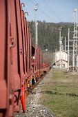 Freight Railway Wagon. Railway Infrastructure. Construction Of Railway Tracks poster