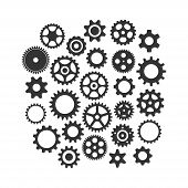 Cog Wheels Gear Black Vector Icon Set. Cogwheel Gear Varios Isolated Icon Collection. poster
