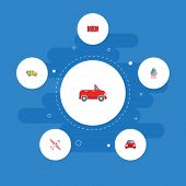 Set Of Auto Icons Flat Style Symbols With Airplane, Car, Suv And Other Icons For Your Web Mobile App poster