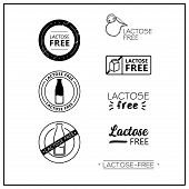 Lactose Free Icons On White Background. Lactose-free Drawn Isolated Sign Icon Set. Healthy Lettering poster