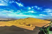 The Sand Dune Desert Near The Oasis Of Huacachina, Peru. A Tourist Adventure For Dune Buggy And Sand poster