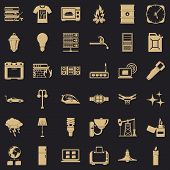 Electricity Server Icons Set. Simple Style Of 36 Electricity Server Vector Icons For Web For Any Des poster