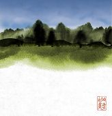 Ink Wash Painting With Green Forest And Cloudy Sky. Traditional Japanese Ink Wash Painting Sumi-e. H poster