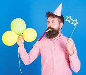 Entertainer With Colorful Baloons At Kids Party, International Childrens Day. Bearded Artist With Pa poster