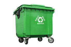 pic of recycle bin  - Green plastic trash container with white recycle symbol and reduce - JPG