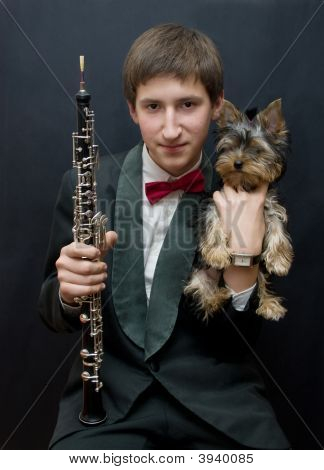 Young Musician With Yorkshire Dog