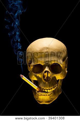 Human Skull Smoking Cigarette On Black Background