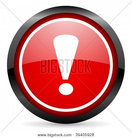 exclamation sign round red glossy icon on white background