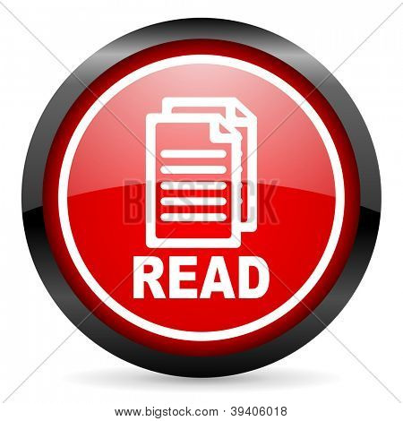 read round red glossy icon on white background