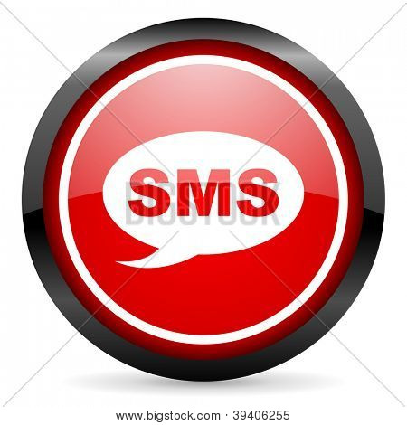 sms round red glossy icon on white background
