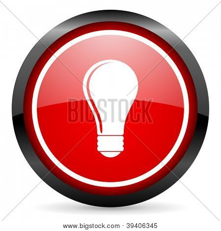 light bulb round red glossy icon on white background