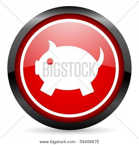 piggy bank round red glossy icon on white background