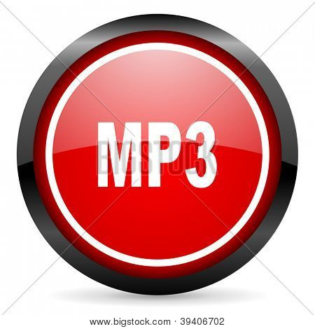 mp3 round red glossy icon on white background