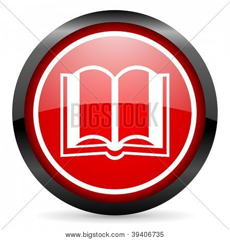 book round red glossy icon on white background