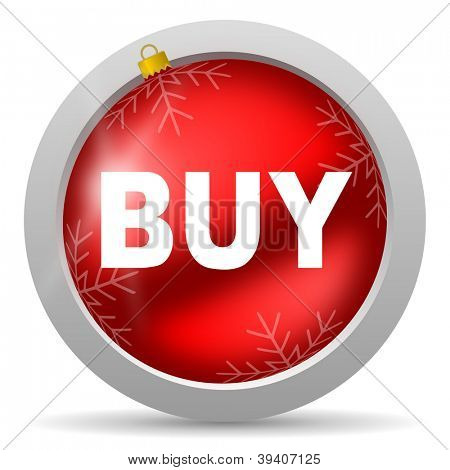 buy red glossy christmas icon on white background