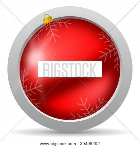 minus red glossy christmas icon on white background