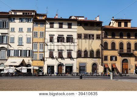 Colorful Houses Facades On Piazza Dei Pitti In Florence, Italy