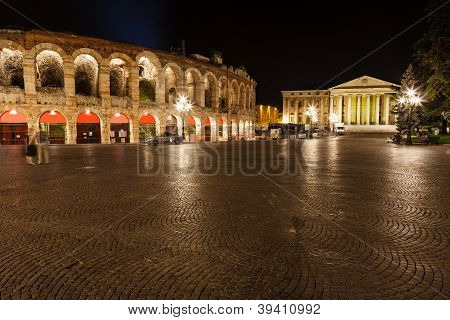 Ancient Roman Amphitheater On Piazza Bra In Verona At Night, Veneto, Italy
