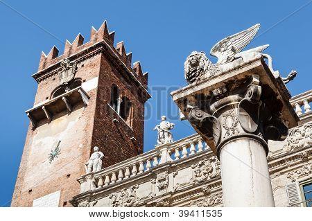Piazza Delle Erbe And Lion Of Saint Mark In Verona, Veneto, Italy