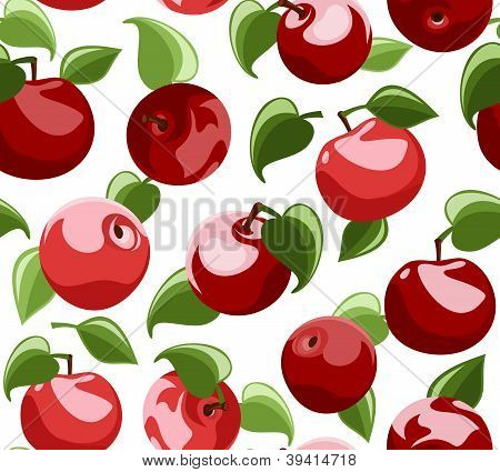Seamless background with red apples and leaves. Vector illustration.
