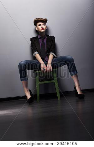 Fashion Style - Trendy Girl Mod In Stylish Garment. Studio Shot