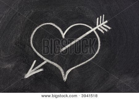 Heart Pierced By Arrow, Love Symbol On Blackboard