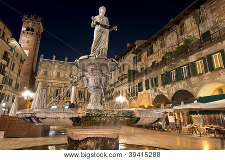 Piazza Delle Erbe By Night In Verona Italy