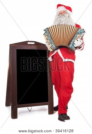 Santa Claus plays the accordion