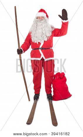 Santa Claus on skis