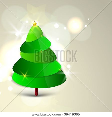 Christmas tree. Greeting card, gift card or invitation card for Merry Christmas. EPS 10.