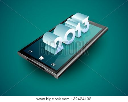 3D New Year text on a tablet screen. EPS 10.