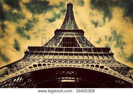 Eiffel Tower in Paris, Fance. Vintage, retro style. View from Champ de Mars