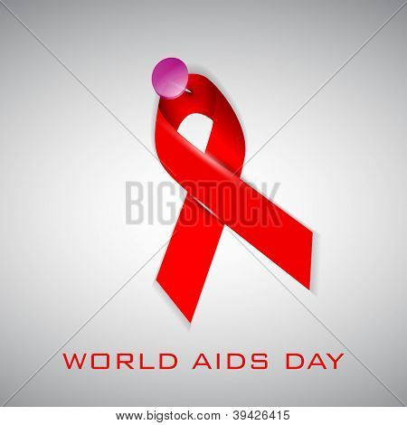 World Aids Day background with red ribbon of aids awareness. EPS 10.