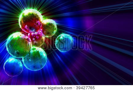 dark funky background with mirror disco balls