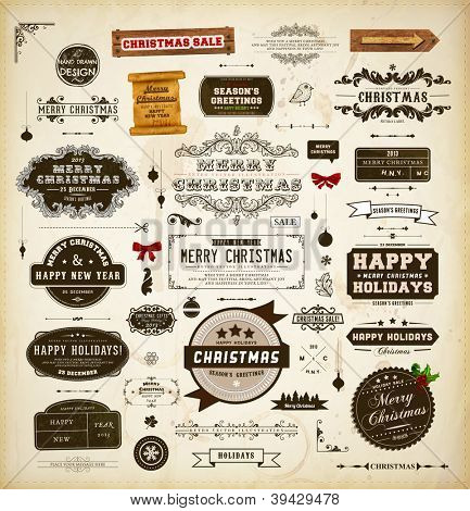 Christmas decoration collection. Set of calligraphic and typographic elements, frames, vintage labels. Ribbons, stickers, mistletoe, hand drawn bird, wooden sign, scroll and ribbon bows - all for Xmas