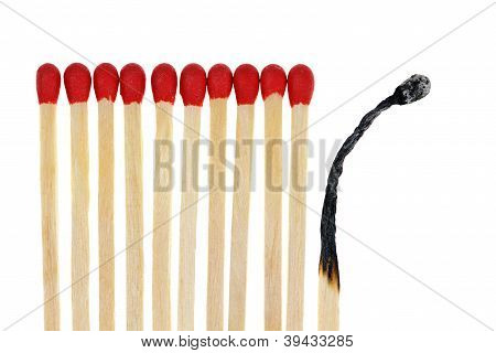 Matches With One Burned Out