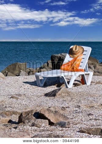 Chair On A Sea Beach Closeup