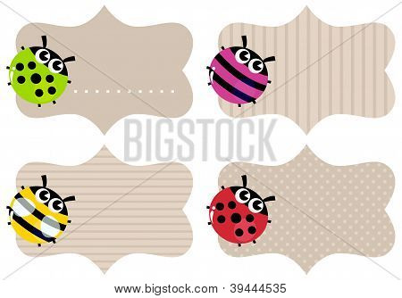 Blank Paper Tags Set With Colorful Bugs