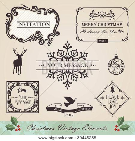 Vintage Christmas Elements Set
