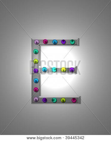 Alfabeto letreiro Metal Ee