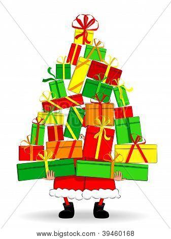 Funny Santa holding gifts