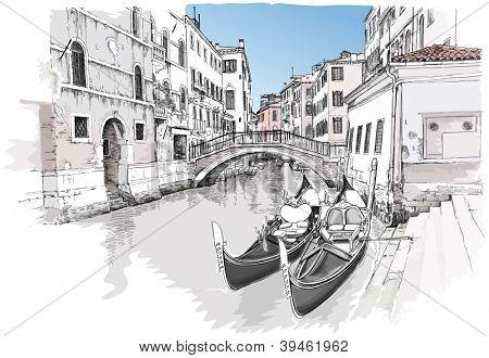 Ponte del Mondo Novo, Campo Santa Maria Formosa. Venecia, Italia. Dibujo vectorial