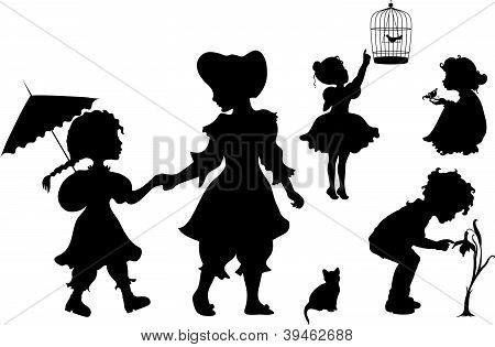 Set Of Silhouettes Kids.