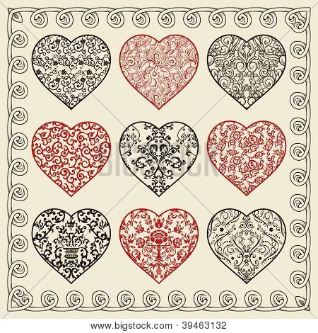 Set of nine ornate hearts