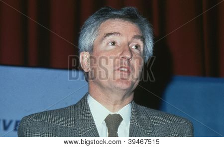 LONDON - DECEMBER 1: John Maples, Economic Secretary to The Treasury and Conservative M.P. for Lewisham West, speaks at a party conference on December 1, 1990 in London. He died in June 2012.
